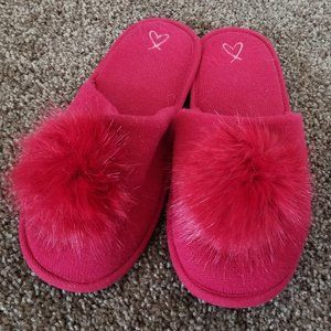Victoria's Secret Red Pom Pom Slip On Slippers